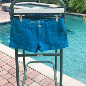 Mossimo Cotton & Spandex Teal Shorts. Size 6